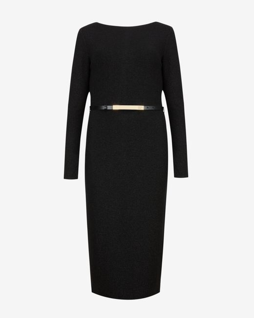 Ted Baker | Black Metallic Midi Dress | Lyst