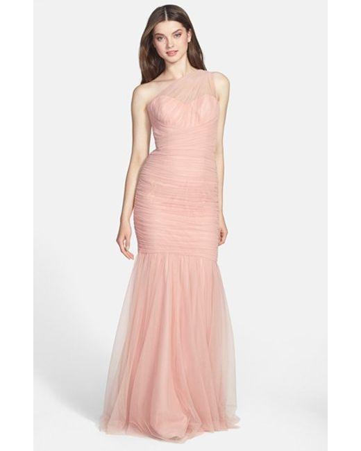 Amsale | Pink One-shoulder Tulle Mermaid Gown | Lyst