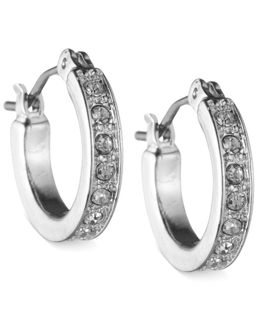 Nine West | Metallic Silver-tone Pave Crystal Hoop Earrings | Lyst