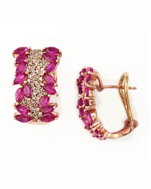 Effy | Pink Ruby, Diamond And 14k Rose Gold Hoop Earrings, 0.55 Tcw | Lyst