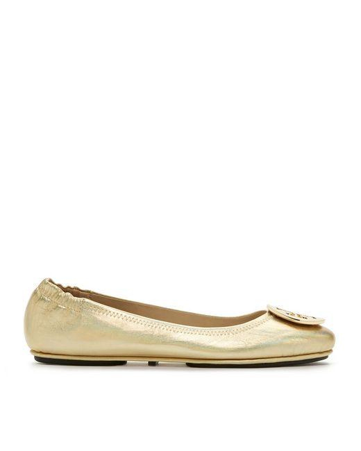 Tory Burch | Logo Minnie Travel Ballet Flat, Metallic Leather | Lyst