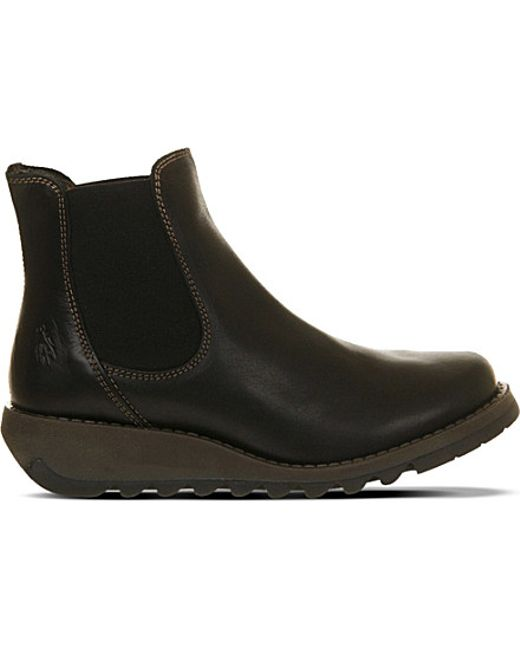 Fly London | Black Salv Wedge Chelsea Boots | Lyst