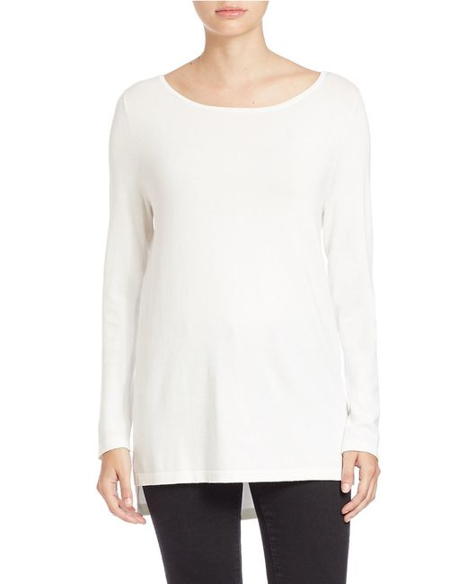 Lord & Taylor | White Petite Long-sleeve Hi-lo Sweater | Lyst