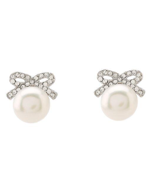 Betsey Johnson | White Crystal Rhodium Pearl Bow Stud Earrings | Lyst