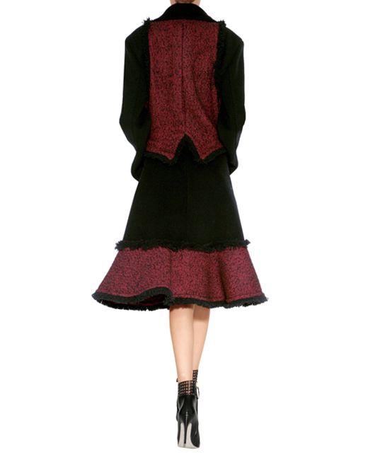 McQ | Wool Blend Fringed Coat In Red/black - Black | Lyst