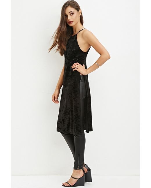 Forever 21 | Black Velveteen High-slit Tunic | Lyst