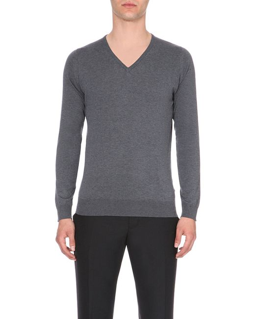 John Smedley | Gray Bampton Knitted Jumper for Men | Lyst