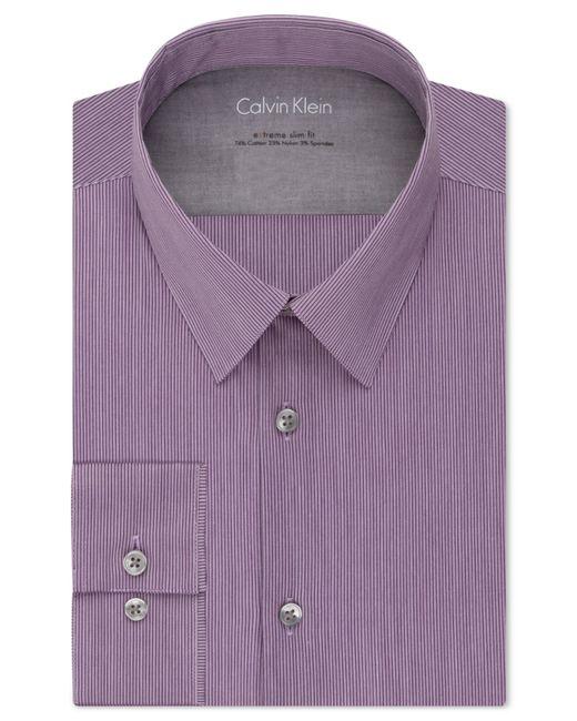 Calvin klein x extra slim fit purple dusk tonal stripe for Calvin klein x fit dress shirt