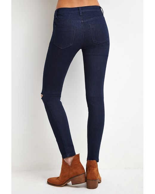 Forever 21 | Blue Raw-cut Knee Skinny Jeans | Lyst