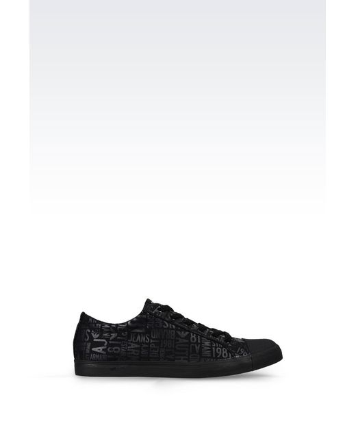 armani jeans sneaker in logo patterned canvas in black for. Black Bedroom Furniture Sets. Home Design Ideas