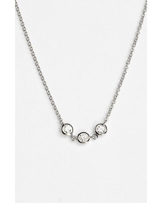 Bony Levy | White Triple Diamond Necklace | Lyst