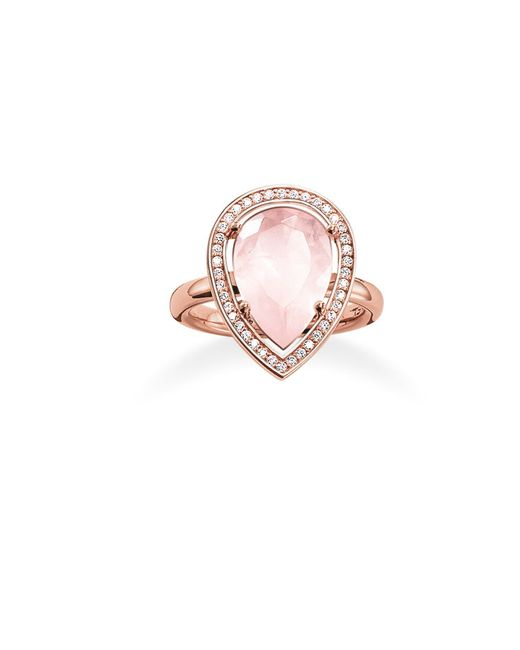 Thomas Sabo | Pink Maharani Rose Quartz Drop Ring | Lyst