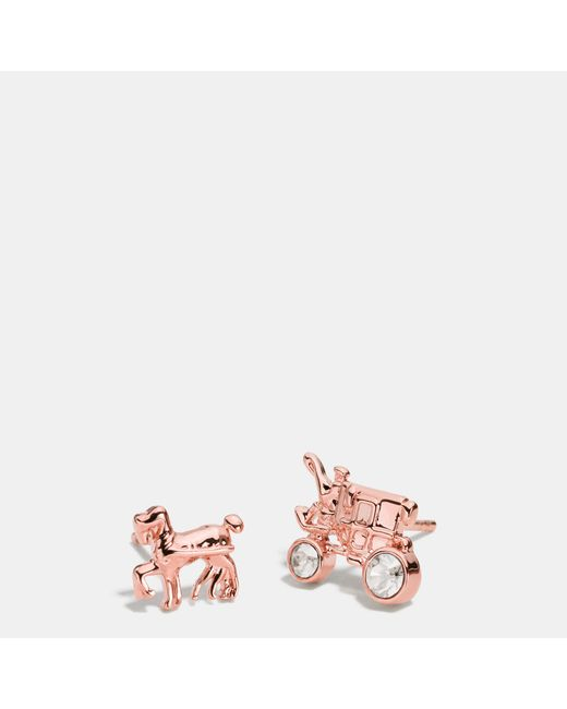 COACH | Metallic Pave Horse And Carriage Stud Earrings | Lyst