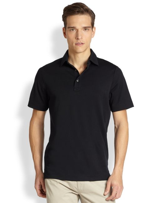 Saks Fifth Avenue | Black Oxford Performance Polo for Men | Lyst