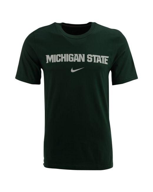 Nike men 39 s michigan state spartans wordmark t shirt in for Michigan state spartans t shirts