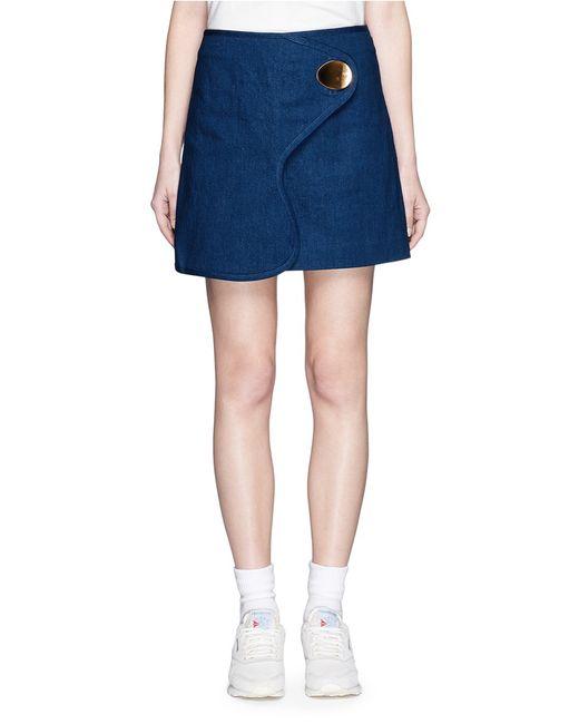 opening ceremony oversize button denim mini skirt in blue