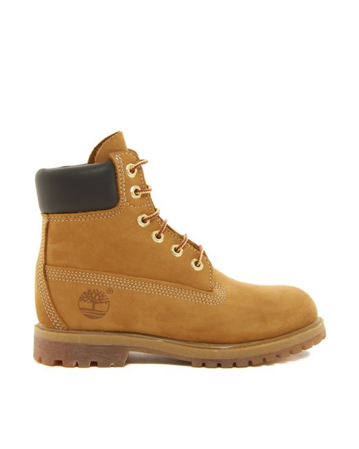 timberland 6 inch premium lace up beige flat boots wheat