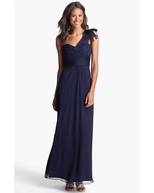 Amsale | Blue Illusion Shoulder Crinkled Silk Chiffon Dress | Lyst