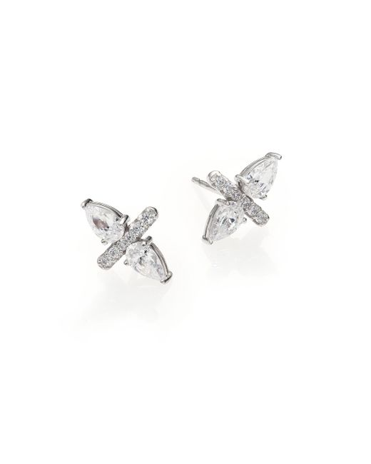 Adriana Orsini | Metallic Bijoux Sterling Silver Two-pear Bar Stud Earring | Lyst