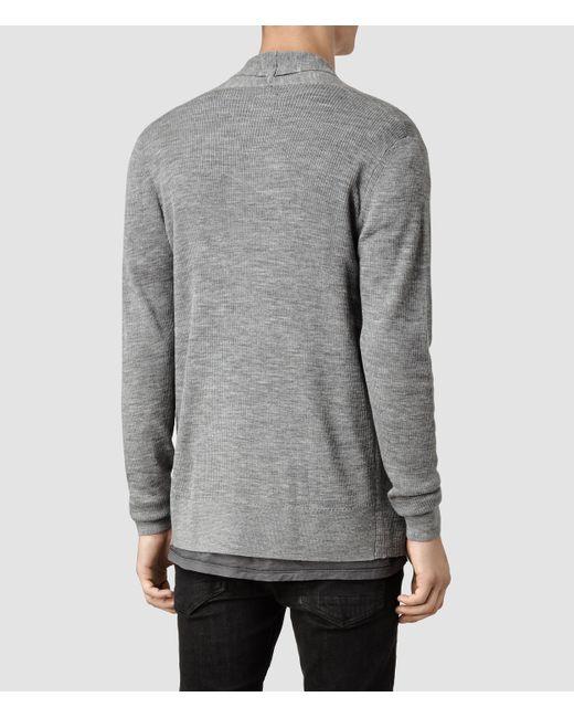 AllSaints   Gray Mode Merino Open Cardigan for Men   Lyst