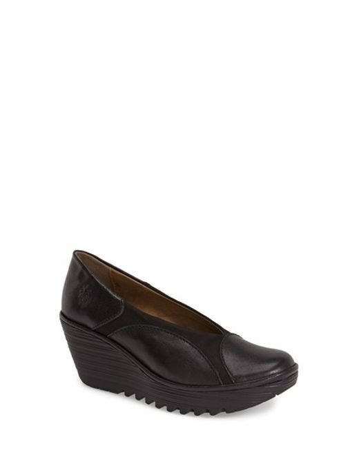 Fly London | Black 'yani' Wedge | Lyst