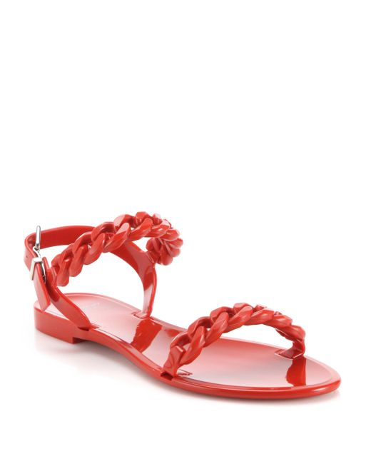 Givenchy Nea Jelly Flat Sandals In Red Lyst