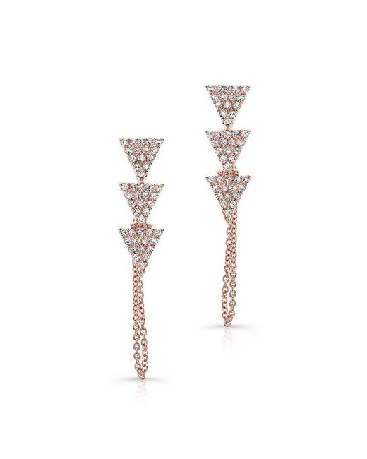 Anne Sisteron | Pink 14kt Rose Gold Diamond Stacked Triangle Chain Earrings | Lyst