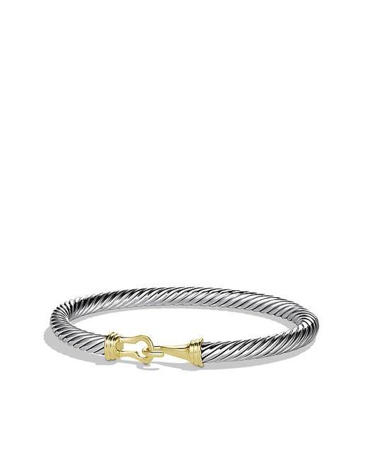 David Yurman | Metallic Cable Classic Buckle Bracelet With 14k Gold | Lyst