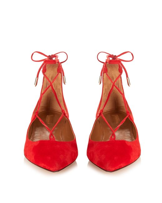 Aquazzura | Red Christy Suede Lace-up Flat | Lyst