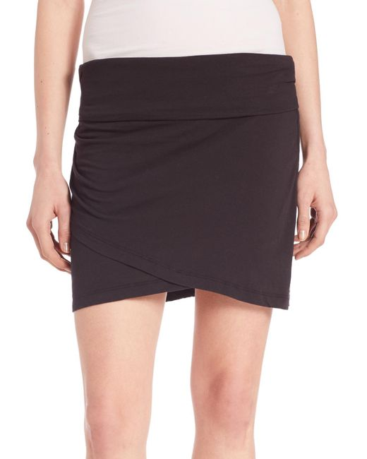 high waisted wrap skirt in black lyst