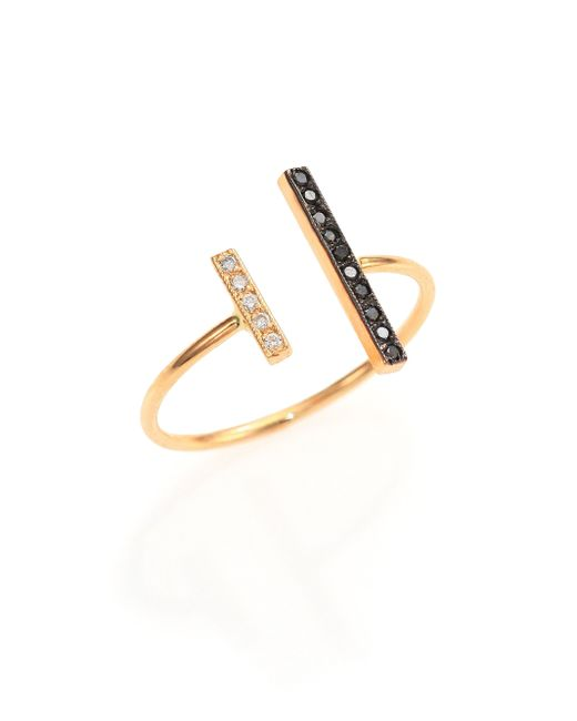 Zoe Chicco | Metallic Black/white Diamond & 14k Yellow Gold Mixed Bar Open Ring | Lyst