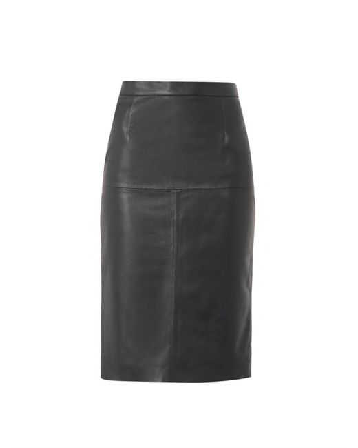 Freda Navy Leather Pencil Skirt in Blue | Lyst