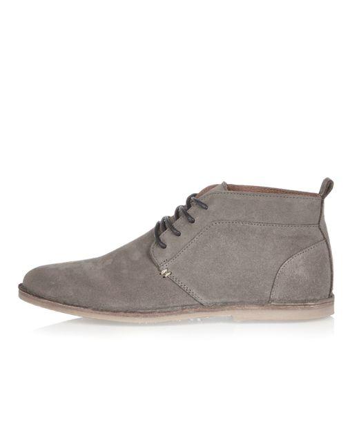 River Island Mens Grey Suede Chukka Boots