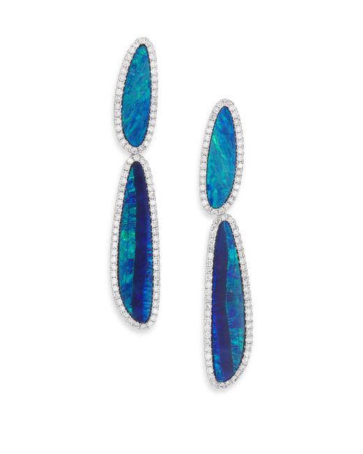 Meira T | Blue Boulder Opal, Diamond & 14k White Gold Drop Earrings | Lyst