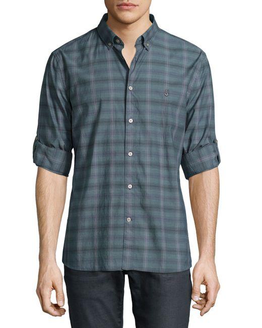 John Varvatos Plaid Roll Tab Sleeve Shirt In Gray For Men