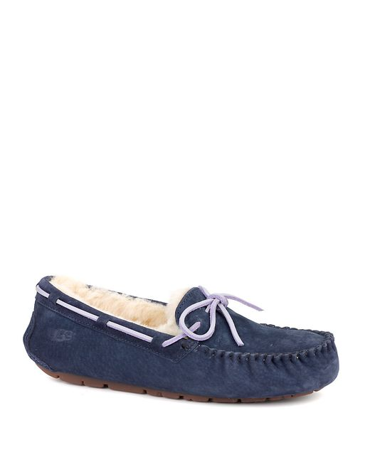 Ugg Ladies Dakota Sheepskin And Suede Moccasin Slippers In