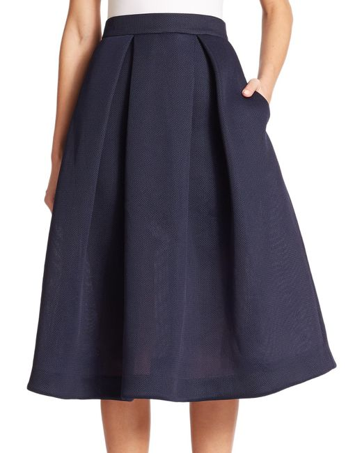 nicholas pleated pique a line skirt in blue navy lyst