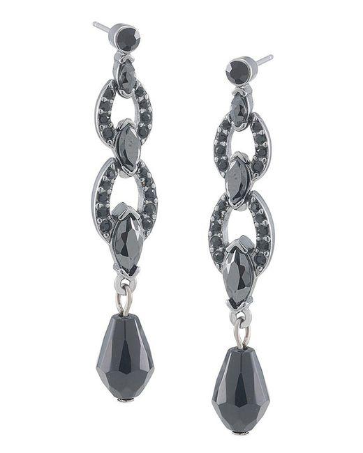 Carolee | Jet Black Crystal Triple-drop Earrings | Lyst