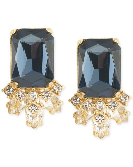 Carolee | Gold-tone Blue Crystal Stud Earrings | Lyst