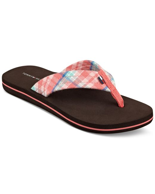 tommy hilfiger women 39 s conica plaid flip flop sandals in pink coral. Black Bedroom Furniture Sets. Home Design Ideas