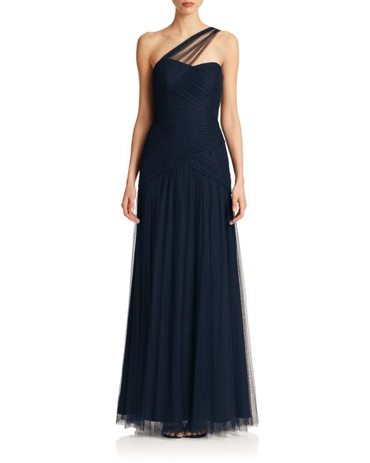 Monique Lhuillier Bridesmaids | Blue One-shoulder Tulle Gown | Lyst