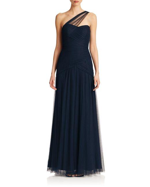 Monique Lhuillier Bridesmaids | Blue One-shoulder Tulle Gown | Lyst