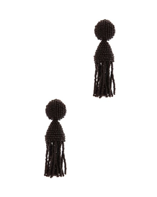 Oscar de la Renta | Black Short Beaded Tassel Clip-on Earrings | Lyst