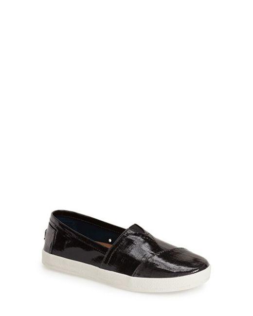TOMS | Black 'Avalon' Patent Linen Slip-On | Lyst