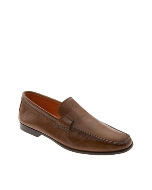 Santoni | Brown 'lazzaro' Slip-on for Men | Lyst
