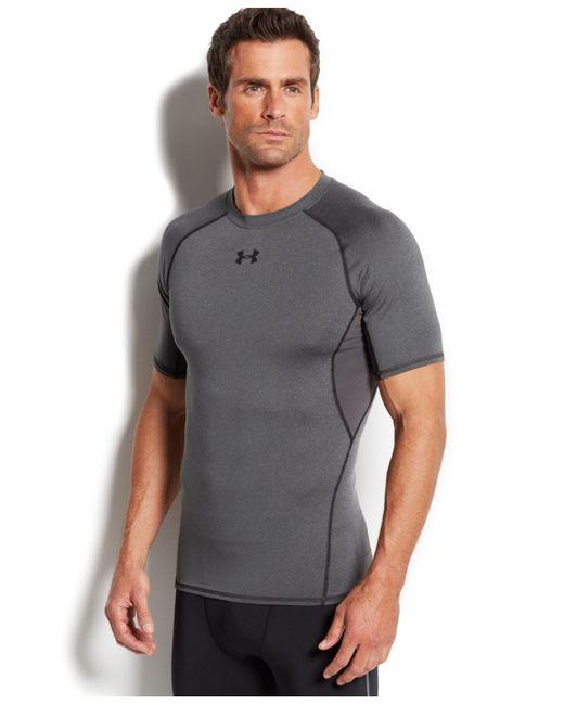 Under armour men 39 s heatgear armour t shirt in gray for men for Gray under armour shirt