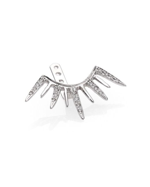 Jacquie Aiche | Diamond & 14k White Gold Large Starburst Single Ear Jacket | Lyst