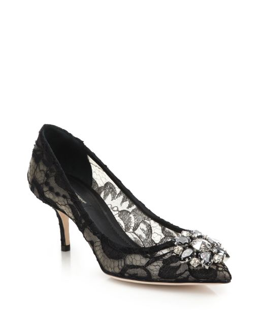 Dolce & Gabbana | Black Embellished Lace Point Toe Pumps | Lyst