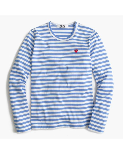 Comme Des Gar Ons Striped Heart T Shirt In Blue Lyst