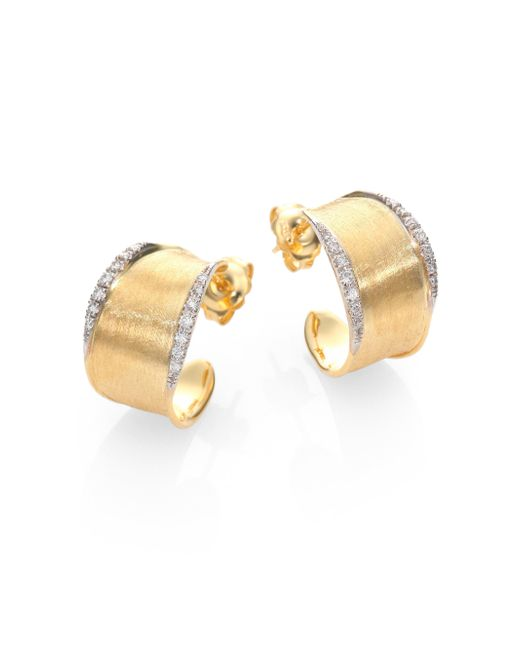 Marco Bicego | Metallic Lunaria Diamond & 18k Yellow Gold Hoop Earrings/1 | Lyst